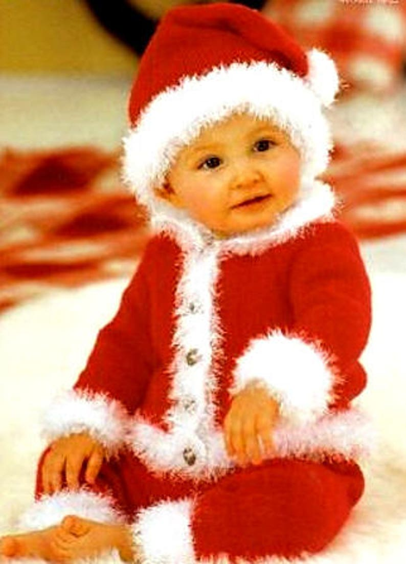 77753447998 Vintage Knitting Pattern Baby Santa Suit Jacket Trousers and