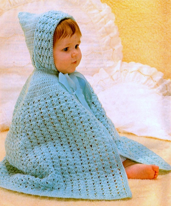 Vintage Crochet Pattern Pdf Baby Cape With Hood Cloak Wrap Etsy