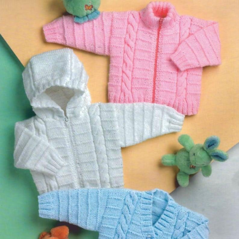 47290dac8f3e Vintage Knitting Pattern PDF Baby Jacket Hoodie Zip V Neck