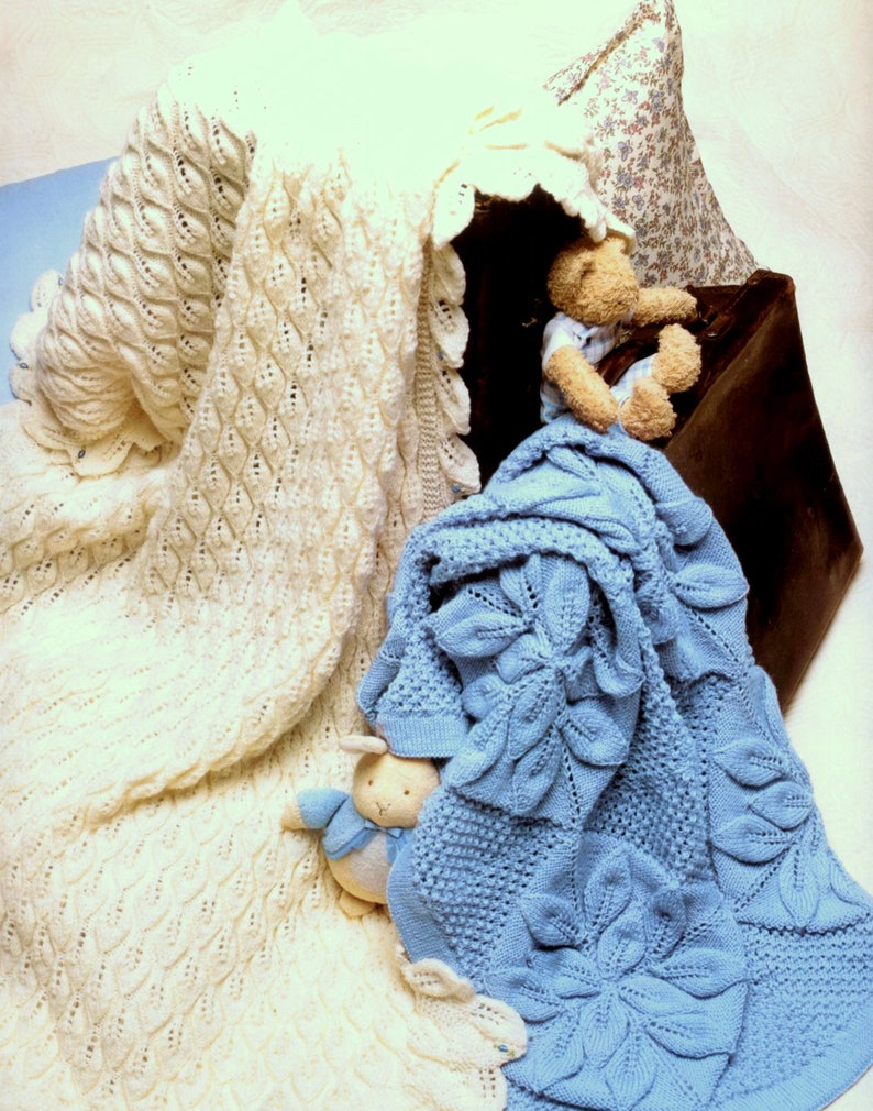 977097301c1a Vintage Knitting Crochet Pattern Booklet PDF Baby Leaf Blanket
