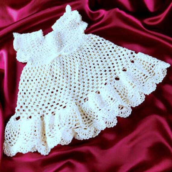 Vintage Crochet Pattern Pdf Baby Pinafore Dress Pineapple Etsy
