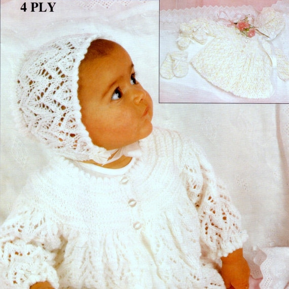 Vintage Knitting PATTERN Baby Infant Sacque Jacket Lace