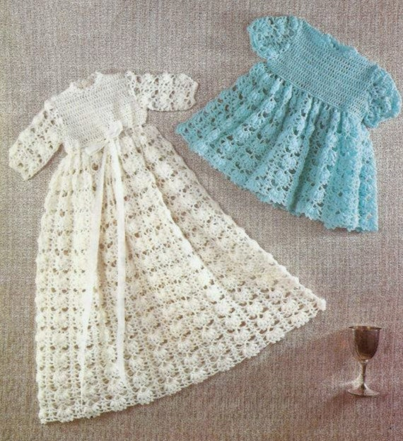 Vintage Crochet Pattern Pdf Baby Christening Robe Gown And Etsy