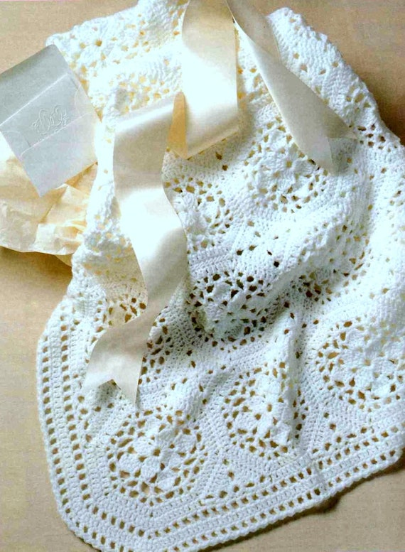 BEAUTIFUL FLOWER PATTERNED PRAM COVER AND BABY SHAWL CROCHET PATTERN
