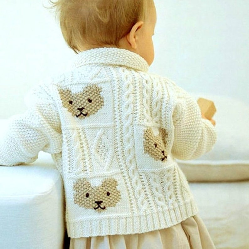 4dca24e20 Vintage Knitting Pattern PDF Teddy Bear Cardigan for Baby