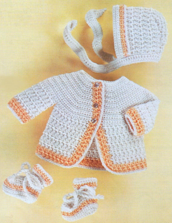 Vintage Crochet Pattern Pdf Baby Matinee Set Jacket Bonnet Etsy