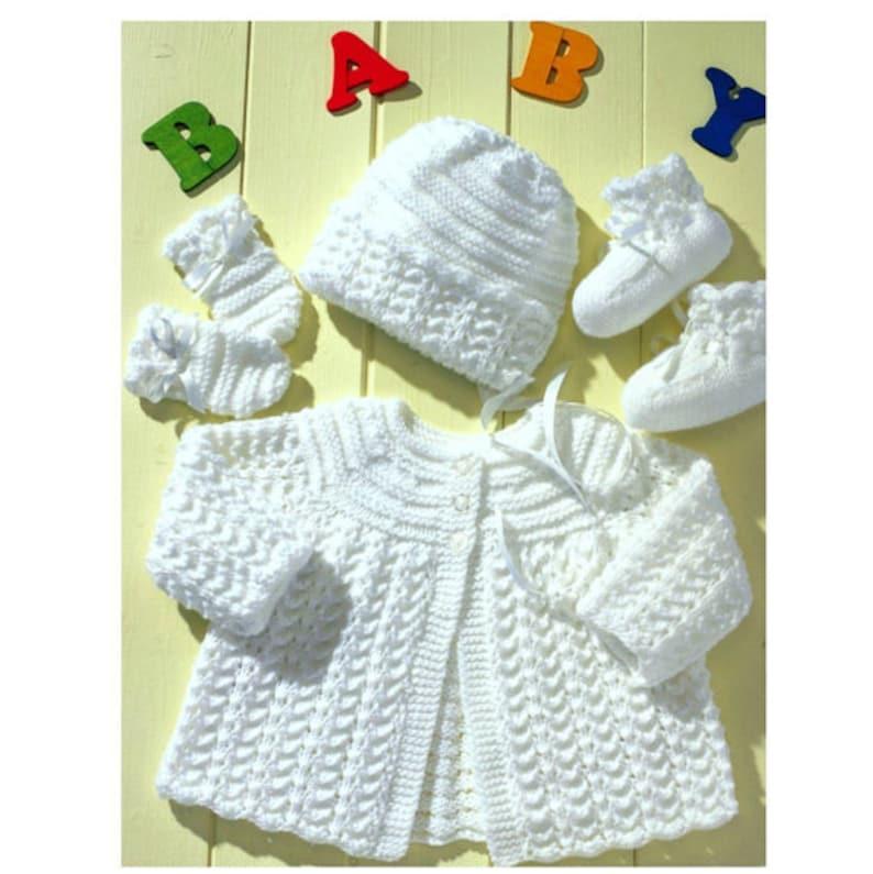 2fe8b1be1b07 Vintage Knitting Pattern PDF Baby Matinee Jacket Cardigan
