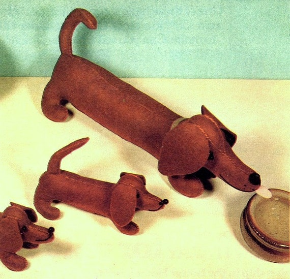 Vintage Sewing Pattern Dachshund Dog and Puppy Soft Toys Pup Pet ...