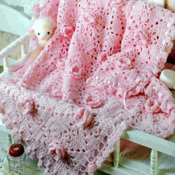 Vintage Crochet Pattern Pink Rose Granny Square Afghan Baby Etsy