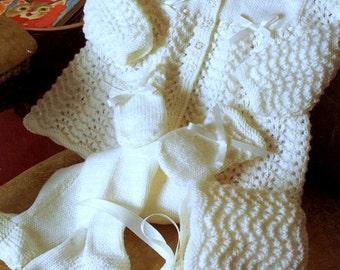 Vintage Knitting Pattern  Baby Matinee Jacket Coat Leggings  Bonnet and Mitts Pram Set PDF