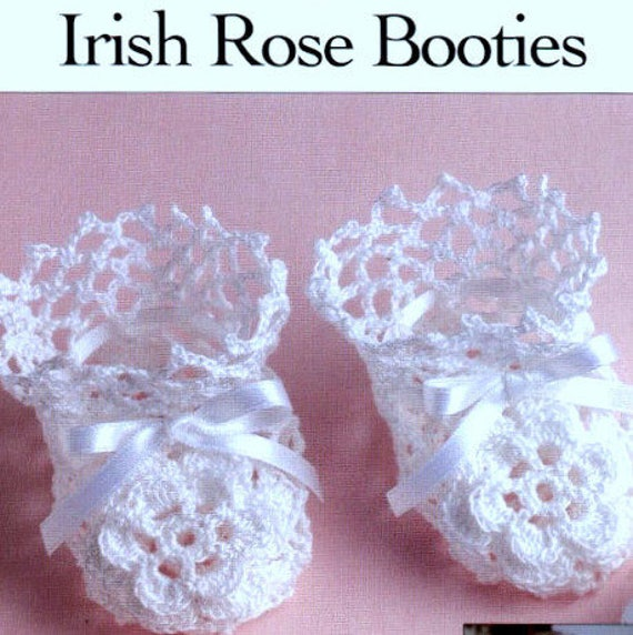 Vintage Crochet Pattern Pdf Baby Booties Irish Rose Lace Etsy