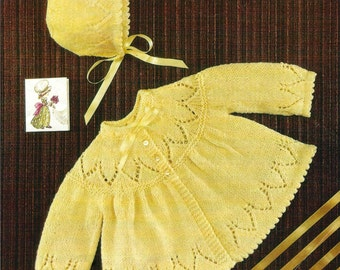 Vintage Knitting Pattern  Baby Matinee Coat and Bonnet   Jacket Cardigan  Angel Top  Yoke  PDF