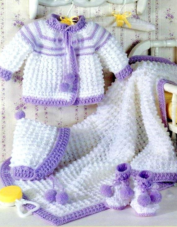 Vintage Crochet Pattern 4 Baby Layettes Matinee Jacket Bonnet