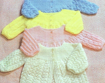 Vintage Knitting Pattern PDF Baby Matinee Coats Cardigan Jacket Angel Top Four Designs 3ply Yarn