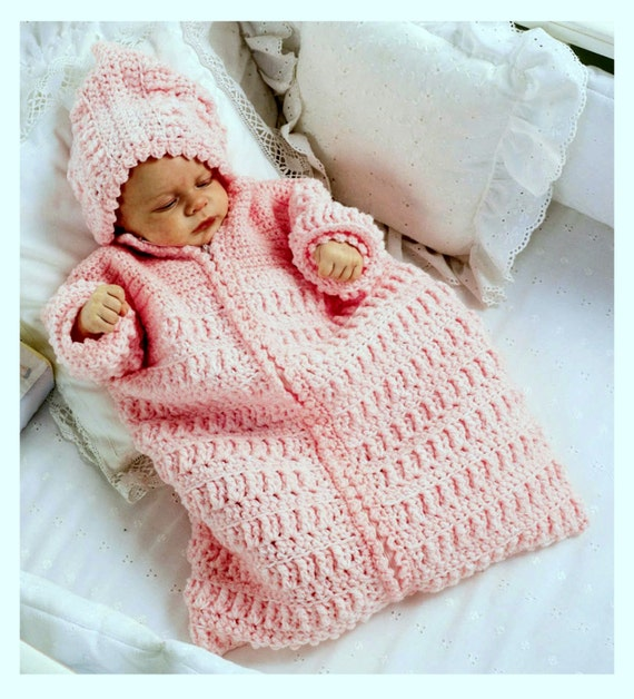 Vintage Crochet Pattern Baby Sleeping Bag Cocoon Sleep Sack Papoose Instant Download Pdf