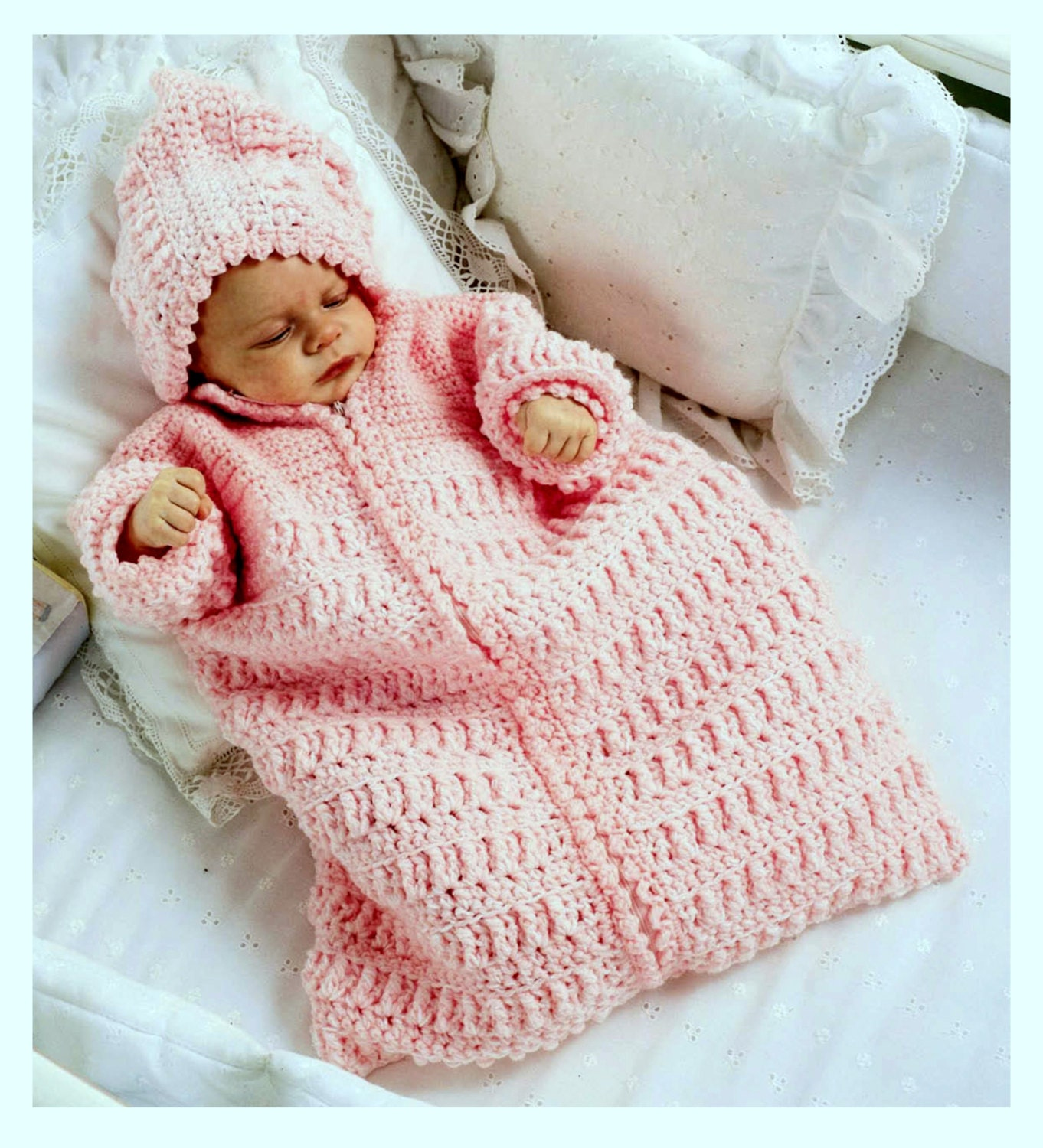 a6e67aeb490a6c Vintage Crochet Pattern Baby Sleeping Bag Cocoon Sleep Sack