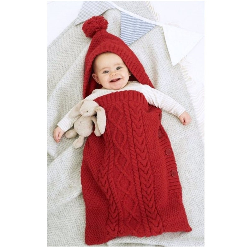 332fa0fd808cca Knitting Pattern Baby Sleeping Bag Cocoon Sleep Sack Papoose