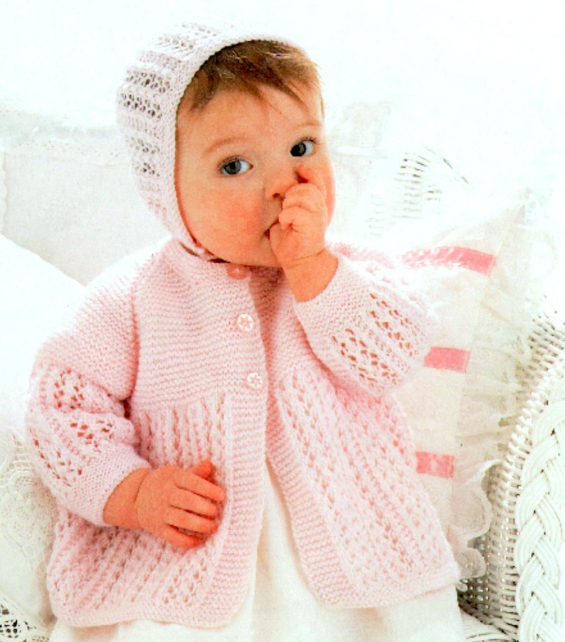 Almost Free Vintage Knitting Pattern Baby Set Jacket  80664fe1f59