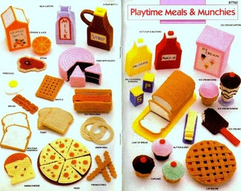 Vintage Pattern Plastic Canvas  Playtime Food  Toy Food Play Food  Dolls House Cafe Cake Shop Pizza Barbecue Picnic Cupcakes Ice Cream Pie