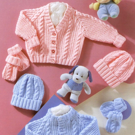 d47b7c23f Vintage Knitting Pattern PDF Baby Cable Pram Sets Cardigan