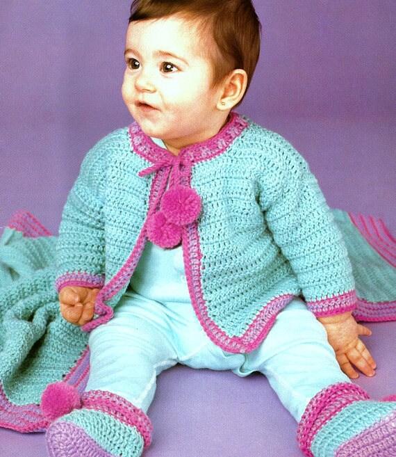 963 Crochet Pram Blankets DK Vintage Crochet Pattern