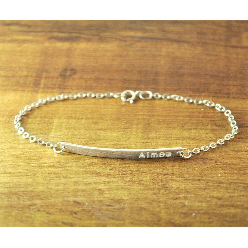 925 Silver bar Jewelry Engraved Bracelet Memorial Bracelet Nameplate Bracelet gift for girl Valentine/'s gifts Personalized Bar Bracelet