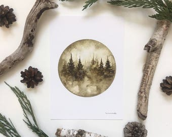 "Sepia Landscape - Watercolor Print 5x7"""