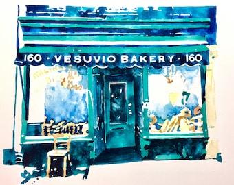 "PRINT ""Vesuvio Bakery"" SoHo New York City Cafe Downtown"