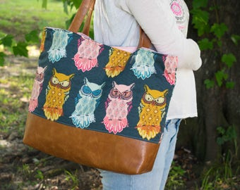 Owl Tote Bag, Large Diaper Bag, Weekend Bag, Fabric Purse, Owl Shoulder Bag, New Mom Gift