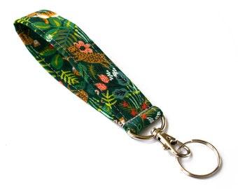 Tiger Keychain, Fabric Keychain, Wristlet Key Fob, Key Lanyard, Cheetah Keychain, Animal Fabric