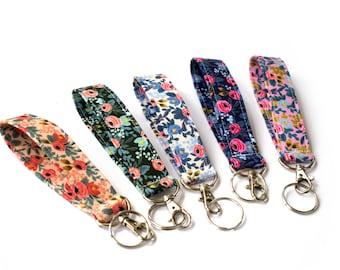 Floral Keychain, Fabric Key Fob, Girly Keychain, Girly Key Fob, Secret Santa, Girl Gift