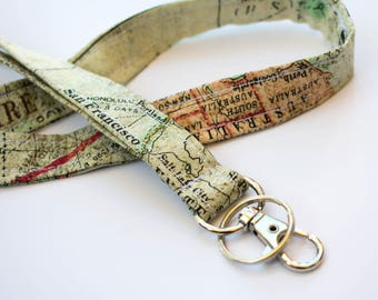 Map Lanyard, Map ID Holder, Geography Gift, Teacher Lanyard, Geography Teacher Gift