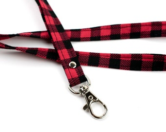 School Girl Plaid Red Lanyard Clip Wrist or Neck
