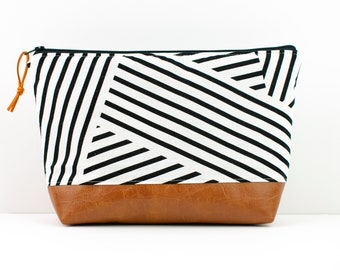 Diaper Clutch, Makeup Bag, Toddler Bag, Large Zip Pouch, Geometric Fabric, Toiletry Bag, Black and White Stripe