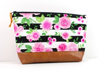 70df17f28ac Floral Stripe Makeup Bag, Cute Diaper Bag Organizer, Large Toiletry Case,  Floral Mom Gift, Floral Stripe Zipper Pouch