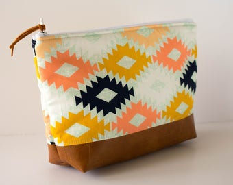 Makeup Bag, Diaper Clutch, Nappy Holder, Cosmetic Bag, Large Zipper Pouch, Aztec Print