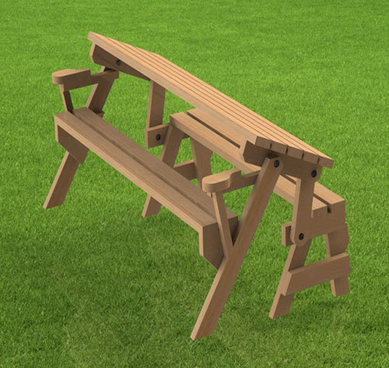 Folding Bench and Picnic Table Combination Woodworking | Etsy