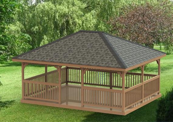 Garden Gazebo Building Plans I Hip Roof 16 X 20 Etsy