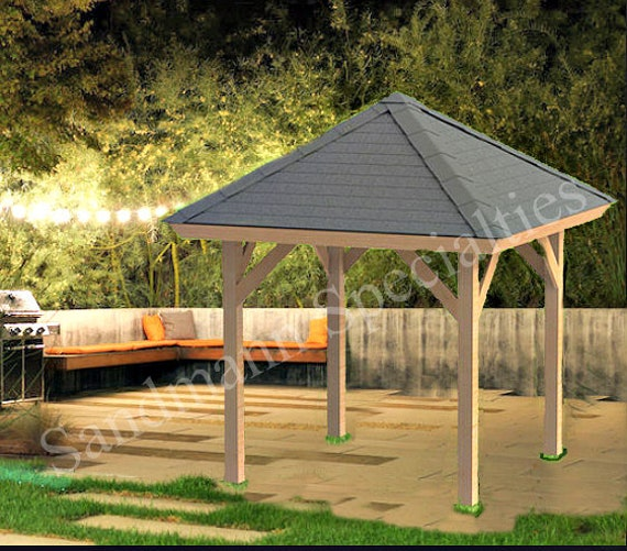 Hip Roof Gazebo Building Plans 8 X8 Perfect For Spas Etsy