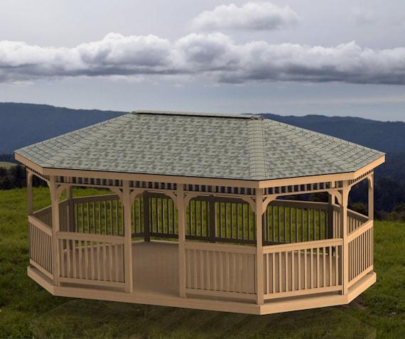 Oval Garden Gazebo Building Plans Hip Roof 14 X 22 Etsy