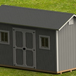 Garage Plans 12 X 24 Structures Building Storage Shed Etsy