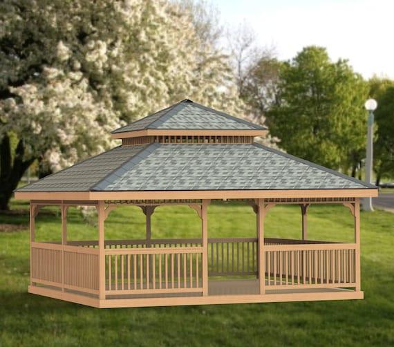 Garden Gazebo Building Plans I Double Hip Roof 20 X 20 Etsy