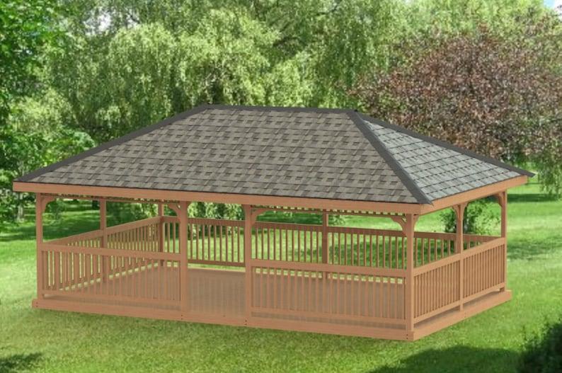 Garden Gazebo Building Plans I Hip Roof - 16 x 26