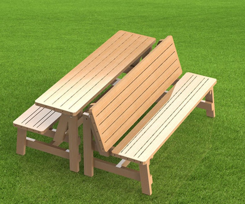 Convertible 6ft Bench To Picnic Table Combination Building Etsy
