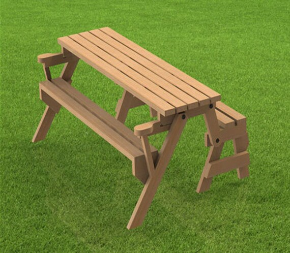 Cool Folding Bench And Picnic Table Combination Woodworking Building Plans Instructions 6Ft Short Links Chair Design For Home Short Linksinfo