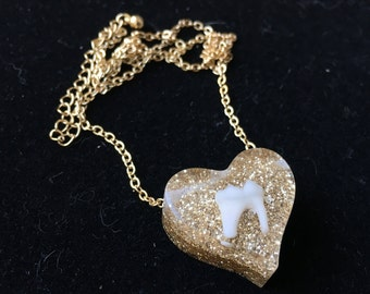Gold Glitter Raccoon Tooth Heart Pendant Necklace
