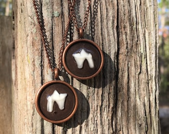 Round Copper Tooth Necklace