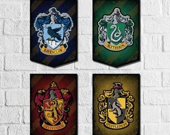 Harry Potter Banner Printable. Harry Potter Wall Art, Hogwarts House Crest.  Hogwarts Crest. Harry Potter Theme. Hogwarts Printable Banner