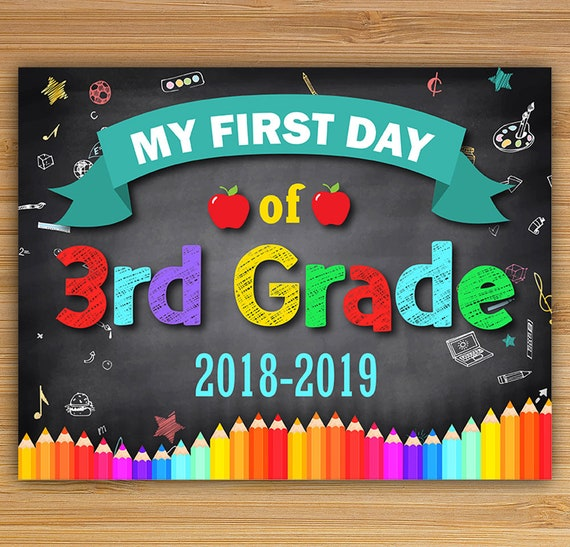 It is a graphic of Delicate Free Printable First Day of School Signs 2020-2020