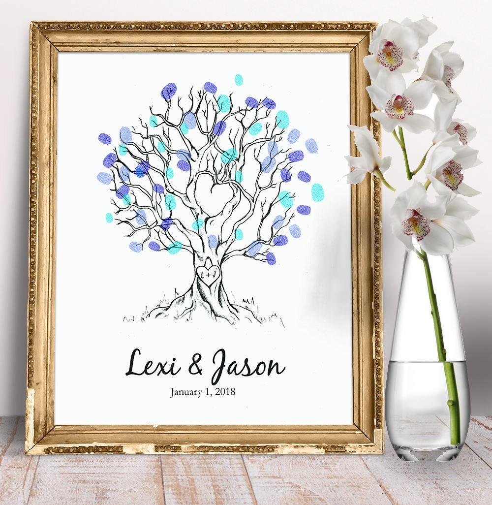 Wedding Guest Signing Tree: Wedding Tree Guest Sign Fingerprint Wedding Guestbook Tree